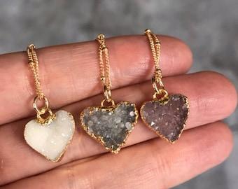 Druzy Necklaces, Heart necklaces, crystal necklaces, Quartz jewelry