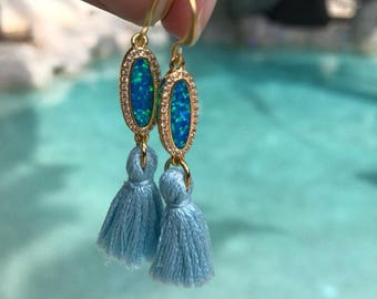Blue Opal Tassel Earrings, Mermaid Earrings Boho jewelry, blue opal earrings, opal jewelry, birthstone jewelry