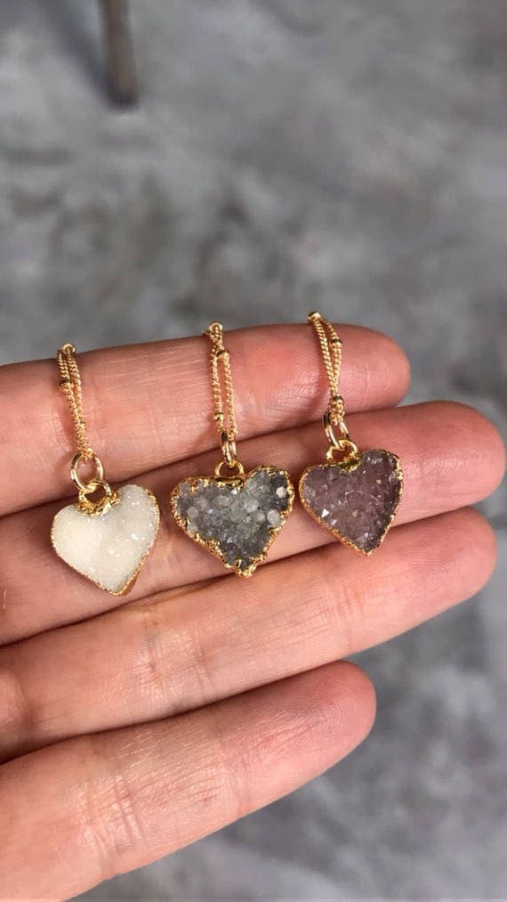 Druzy Necklaces, Heart necklaces, crystal necklaces, Quartz jewelry