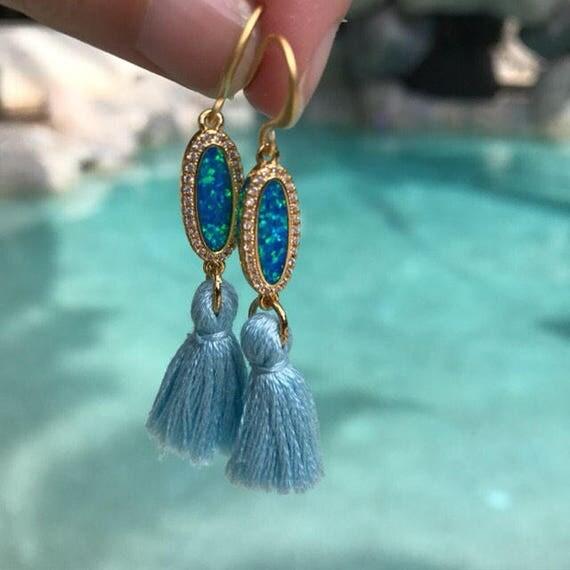 Mermaid Earrings, Opal Tassel Earrings, Boho jewelry