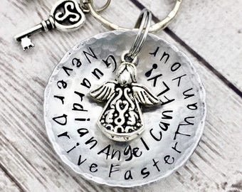 First Car Keychain - Sweet Sixteen Gift - Guardian Angel Keychain - 16th Birthday Gift - Daughter Gift - Personalized Hand Stamped