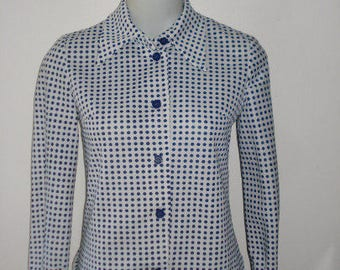 Vintage Polka Dot White and Navy Long Sleeve Shirt Top - Womens Retro Clothing 1960s
