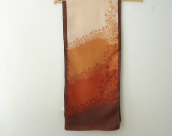 Vintage Orange and Brown Long Scarf - Karin -  Fall Brown Scarves - Women's AutumnAccessories 1970s - Italy