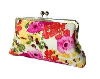 Summer Floral clutch/ Gift for her/ Summer wedding purse/ Chic cottage purse/ Bridal shower