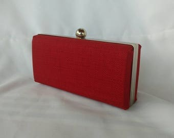 Red minaudiere clutch/ Fall trend purse/ Gift for her/ Red evening box clutch /Clamshell purse