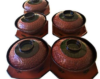 Japanese Lacquered Rice Bowl Set, vintage set of 5 covered miso soup bowls with saucers, textured design