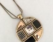 Laura Ashley Necklace, Designer, Huge Statement Pendant, Geometric Gold Black Crystal, Bronze, Round Pendant