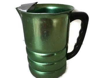 Green Aluminum Pitcher by Krome Kraft Made in USA MCM Summer Patio Table Serving Drinkware Bar Pitcher