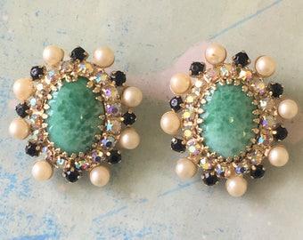 Vintage Signed Hobe Clip Earrings Peking Art Glass AB Rhinestones Faux Pearls