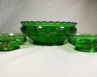 Heisey Winged Scroll 1898  emerald green glass bowls