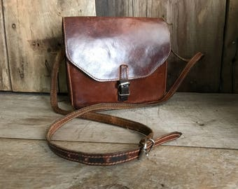 Vintage English Leather Handbag, Artisan Crafted, Chestnut Brown, Crossbody