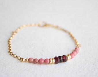 Dainty gemstone bracelet,Gold garnet bracelet, Pink gemstone bracelets, Gold filled gemstones bracelet, Pink stone bracelet, Beaded bracelet