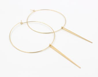 SPIKE HOOP EARRINGS /// Thin Gold-filled or Sterling Silver Modern Hoops - High Quality - Dangle Statement Earrings - Lightweight Minimal