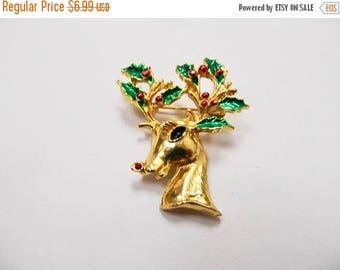 On Sale Vintage Enameled Christmas Reindeer Pin Item K # 2266