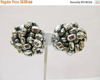 ON SALE Vintage Grey Beaded Cluster Earrings Item K # 2579