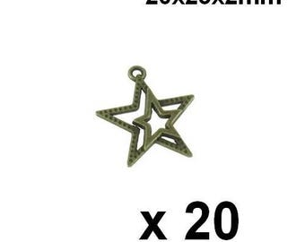 20 bronze metal star charms pendants