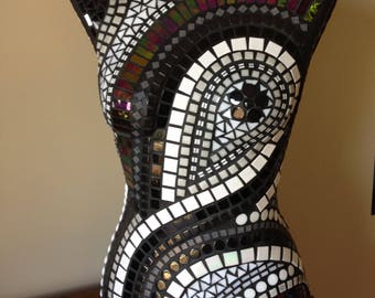 Mosaic Vintage Female Mannequin in Black and White Swirls