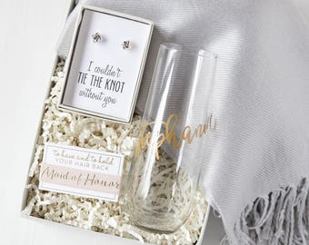 Maid of Honor Gift Set, Bridesmaid Proposal Idea, Be My Bridesmaid, Thank You Gift, Personalized Custom Bridal Party Gift Boxes, Champagne