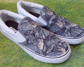 Bats Slip On Sneakers - Hand Illustrated - OOAK - UK mens 7