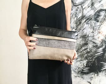 Leather and grey linen clutch, bag, leather bag, leather clutch, linen clutch, small bag, night out
