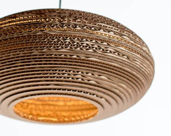 Oval Lampshade made from recycled cardboard, hanging lampshade, cardboard lamp, pendant lamp