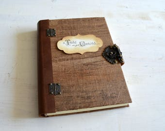 Handmade hardcover journal, book, eco diary, organic notebook, with wooden papyrus covers and leather and metal closure