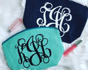 Monogram Cosmetic Bag | Monogram Make Up Bag | Make Up Storage | Make Up Case | Cosmetic Case | Cosmetic Pouch | Cosmetologist Gift