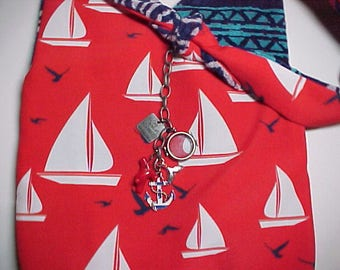 "Crossbody Bag  Reversible ""SAILS And SEAGULLS""  Washable  Criss Cross Purse with Keychain / Bagcharms"