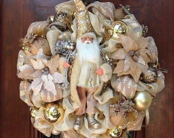 Large Well Dressed neutral Santa Wreath