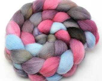 Hand Painted Roving - Raspberry - Falkland Wool, 4 ounces