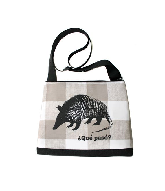 Armadillo, screen print, tan checks, large, cross body bag