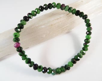 Ruby in Zoisite Stretch Bracelet 6mm Faceted Rondelle Roundel Gemstone Beads Green Black Pink Red Natural Genuine Sparkly Dainty