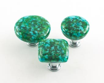 Glass Drawer Knobs, Modern Cabinet Pulls, Kitchen Cabinet Hardware, Teal Green Decor, Replacement Handles, Choice of Size and Finish