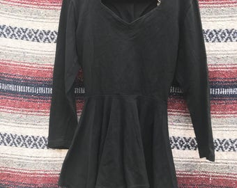 Vintage Black Button Back Peplum Top: XS