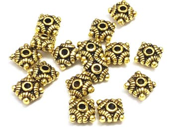 30pc antique gold finish 7mm metal beads-F28
