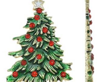 1PC green enamel with rhinestones Christmas tree pendant-8228G