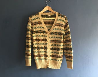 1970s Wool Blend fair Isle cardigan small