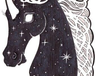 Original Art: New Moon Unicorn - unicorn galaxy stars