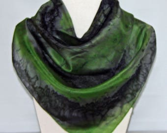 Hand dyed Lime and Black Square Silk Scarf