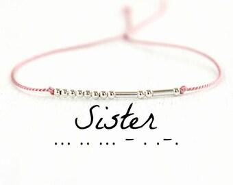 Minimalist Morse Code Bracelet Dainty Motivational Jewelry Delicate Silk Cord Sterling Silver Bead Bracelet