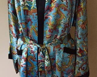 Vintage Scott Lester Satin Dragon Robe