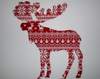 "Scandinavian Moose Patch 7 1/2"" Iron On"