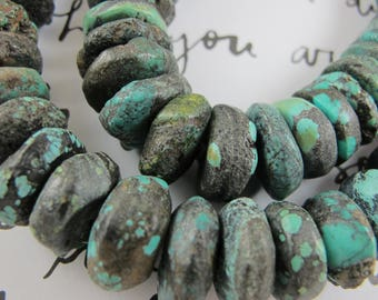 Large Turquoise Rondelle Beads