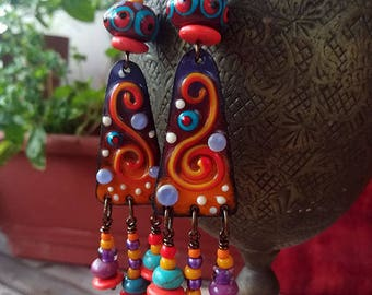 RESERVED and Sold to Ellen - Blooming Desert  - Boho Unique Lightweight Earrings- Enameled Copper Art by Michou P. Anderson