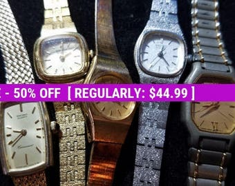 Lot of 5 Seiko Watches. All are Seiko brand. All need Batteries, repair, vintage watch lot in need of love