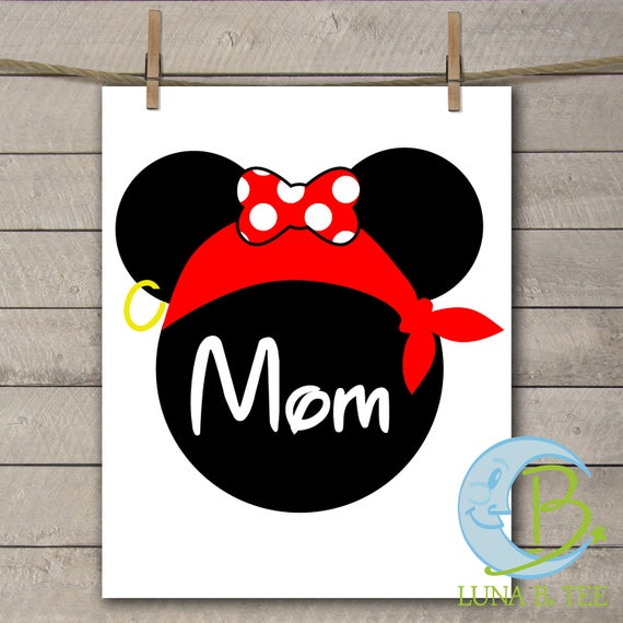 INSTANT DOWNLOAD Disney Family Vacation Cruise Pirate Night Mom Shirts Printable DIY Iron On to Tee T-Shirt Transfer - Digital File