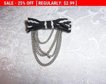 Vintage cloth bow brooch, vintage brooch, estate jewelry