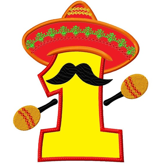Mexican fiesta hat number one applique embroidery design