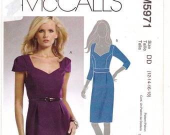 FF 2009 Womens Fitted Low Neckline Fitted Dress with Princess Seams Sewing Pattern [McCalls 5971] Size 12 14 16 18, Bust 34 36 38 40 UNCUT
