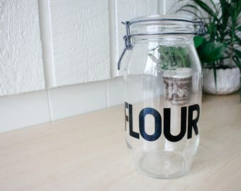 Vintage glass flour jar typography triomphe kitchen canister 2 L mid century